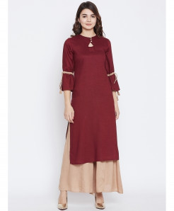 Maroon Dori Sleeves Style 2Piece Suit ALK-234