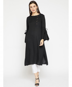 Black Cross Button Style Ladies Kurti ALK-221