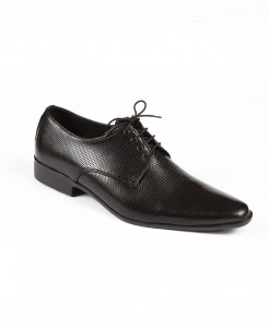Black Leather Lace Up Shoes LC-394