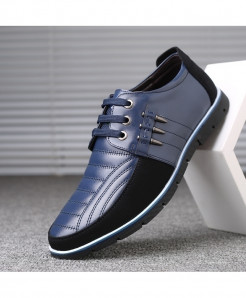 ZXQ Blue Autumn Leather Casual Shoes