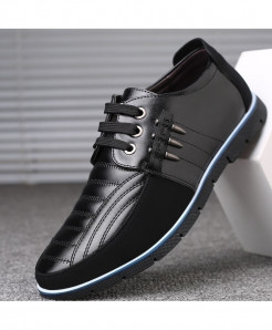 ZXQ Black Autumn Leather Casual Shoes