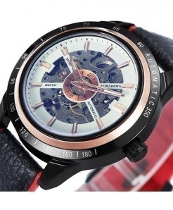 Winner Leather White Red Skeleton Automatic Mechanical Watch