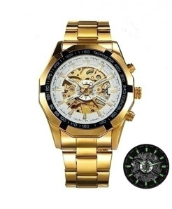 Winner Golden White Skeleton Automatic Mechanical Watch