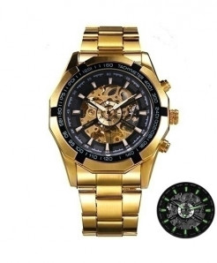 Winner Golden All Black Skeleton Automatic Mechanical Watch