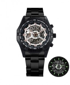 Winner Black Case White Skeleton Automatic Mechanical Watch