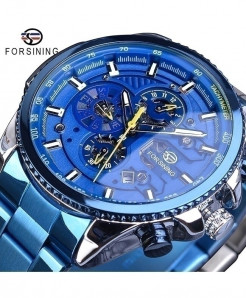 Forsining Blue Dial Three Dial Calendar Stainless Steel Automatic Military Sport Watch GMT1137-10