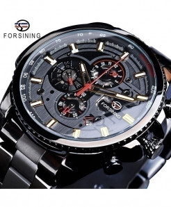 Forsining Black Dial Three Dial Calendar Stainless Steel Automatic Military Sport Watch GMT1137-7