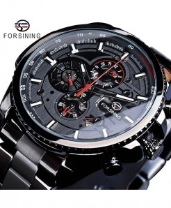 Forsining Black Dial Three Dial Calendar Stainless Steel Automatic Military Sport Watch GMT1137-4