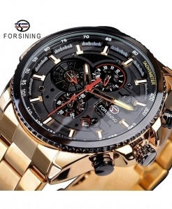 Forsining Black Dial Three Dial Calendar Stainless Steel Automatic Military Sport Watch GMT1137-2