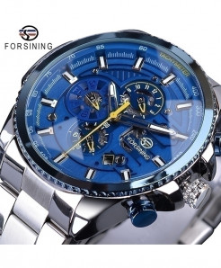 Forsining Blue Dial Three Dial Calendar Stainless Steel Automatic Military Sport Watch GMT1137-1