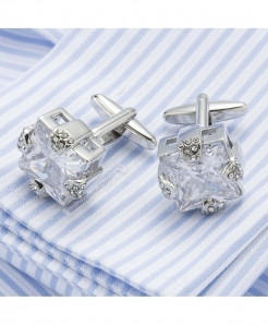 VAGULA Silver Plating Clear Zircon Shirt Cufflinks
