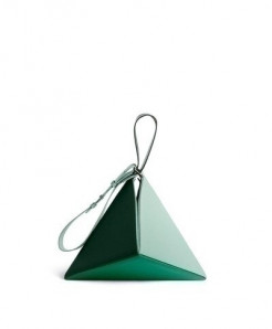 Green Shades Fold Out Triangle Pu Leather Handbags