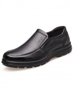 YUYAN HAPPY HOUR Black Genuine Leather Non-Slip Loafers