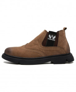 ALCUBIEREE Brown Pu Slip-On Breathable Boots