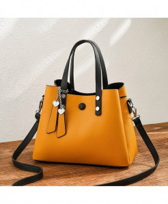 ZMQN Yellow Pu Leather Crossbody Handbag