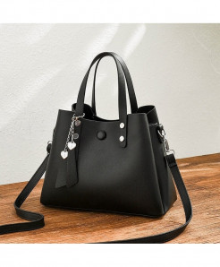 ZMQN Black Pu Leather Crossbody Handbag