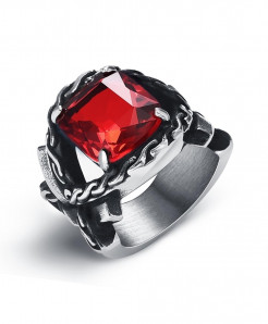 OBSEDE Silver Red Punk Titanium Steel Ring S-5
