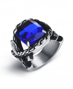 OBSEDE Silver Blue Punk Titanium Steel Ring