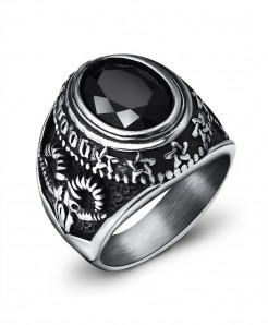 OBSEDE Silver Black Punk Titanium Steel Ring S-3