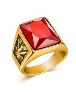OBSEDE Golden Red Punk Titanium Steel Ring