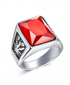 OBSEDE Silver Red Punk Titanium Steel Ring