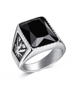 OBSEDE Silver Punk Titanium Steel Ring S-1