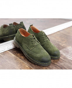 Careaymade Green Bonded Genuine Leather Casual Shoes