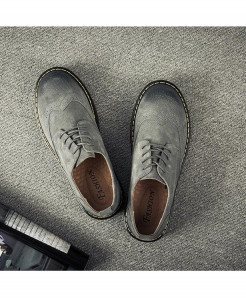 Careaymade Gray Bonded Genuine Leather Casual Shoes