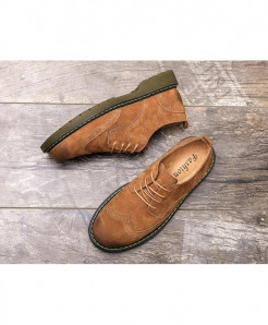 Careaymade Brown Bonded Genuine Leather Casual Shoes