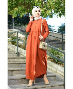 Orange Front Button Frock Style Ladies Abaya FLK-447