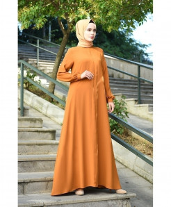 Rust Orange Round Tie Frock Style Ladies Abaya FLK-440