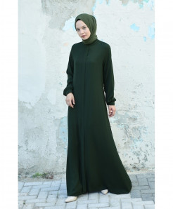 Oil Green Round Tie Style Ladies Abaya FLK-437
