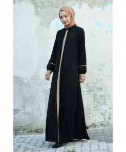 Black Tie Tipping Style Ladies Abaya FLK-431