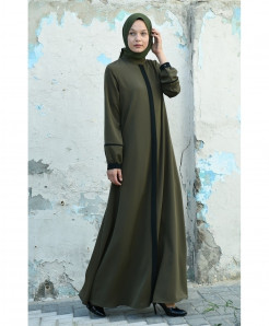 Olive Green Tie Tipping Style Ladies Abaya FLK-430