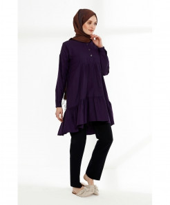 Purple Pleated Frock Tunic Style Kurti FLK-426