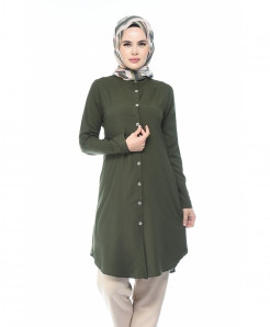 Olive Green Front Button Tunic Style Kurti FLK-420