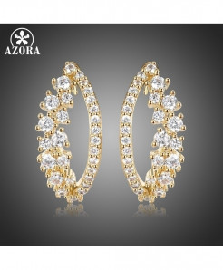 AZORA AAA Cubic Zircon Eye Stud Earrings