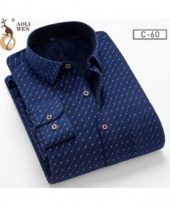 AOLIWENM Blue Brown dotted Broadcloth Polyester Fiber Shirt