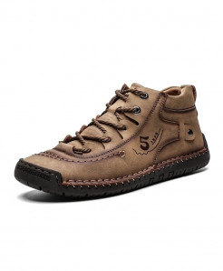 ALCUBIEREE Khaki Hiking Pu Leather Boots