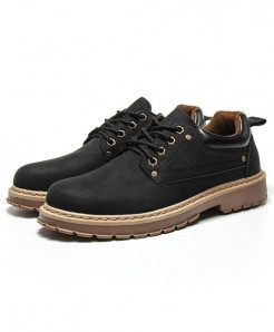 URBANFIND Black Cow Leather Casual Shoes