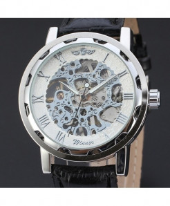 T-WINNER Silver White Skeleton Hollow Leather Strap Watch