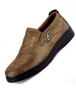 QIYHONG Light Brown Mesh Faux Suede Casual Shoes
