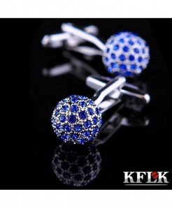 KFLK Blue Crystal Ball High Quality Shirt Cufflinks