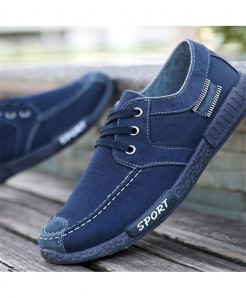 ELGEER Navy Blue Canvas Lace Up Casual Shoes