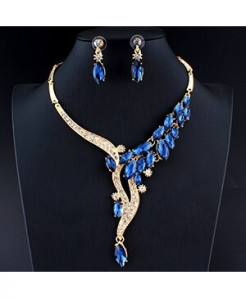 Jiayijiaduo Blue Zinc Alloy Trendy Crystal Jewelry Sets