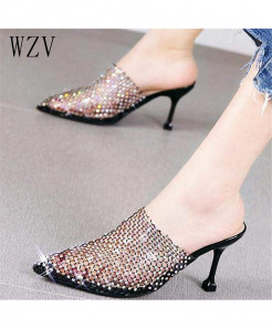 Wzv Black Pvc Latex Crystal Pointed Toe sandals