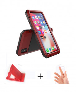 APBLP Red Heavy Duty Protection Doom Armor Metal Aluminum Phone Case for iPhone