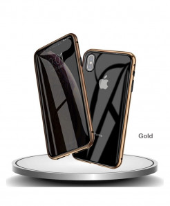 AOSANG Golden Magnetic Privacy Screen Protector Phone Case For iPhone