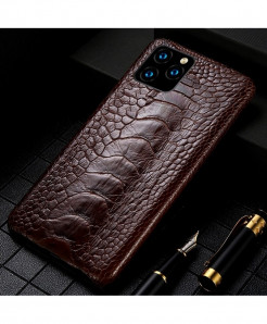 LANGSIDI Brown Genuine Ostrich Foot Leather Luxury Cover For Apple iPhone