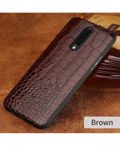 LANGSIDI Brown Grain Leather Armor Case For Oneplus
